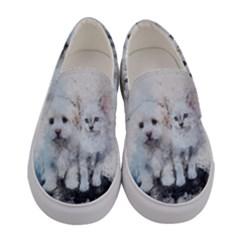 Cat Dog Cute Art Abstract Women s Canvas Slip Ons