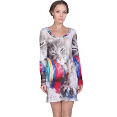 Cat Kitty Animal Art Abstract Long Sleeve Nightdress by Celenk