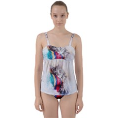 Cat Kitty Animal Art Abstract Twist Front Tankini Set by Celenk