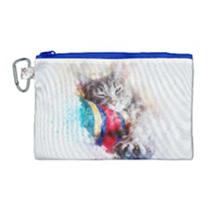 Cat Kitty Animal Art Abstract Canvas Cosmetic Bag (large) by Celenk