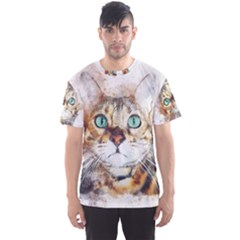 Cat Animal Art Abstract Watercolor Men s Sports Mesh Tee