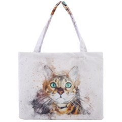 Cat Animal Art Abstract Watercolor Mini Tote Bag by Celenk