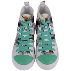 Mask Party Art Abstract Watercolor Women s Mid Top Canvas Sneakers