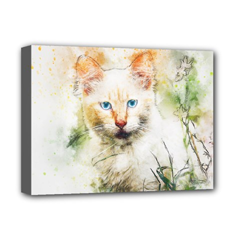 Cat Animal Art Abstract Watercolor Deluxe Canvas 16  X 12   by Celenk