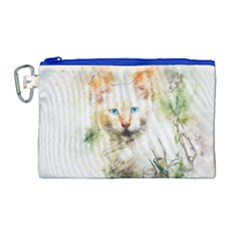 Cat Animal Art Abstract Watercolor Canvas Cosmetic Bag (large)