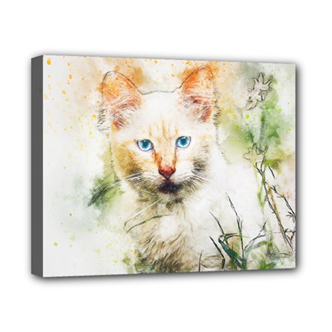 Cat Animal Art Abstract Watercolor Canvas 10  X 8  by Celenk