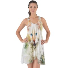 Cat Animal Art Abstract Watercolor Show Some Back Chiffon Dress by Celenk