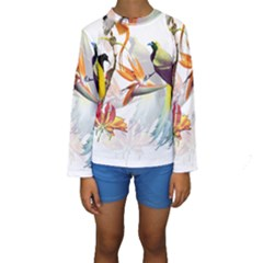 Exotic Birds Of Paradise And Flowers Watercolor Kids  Long Sleeve Swimwear by TKKdesignsCo