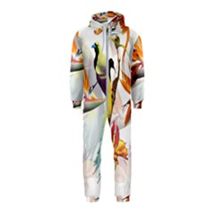 Exotic Birds Of Paradise And Flowers Watercolor Hooded Jumpsuit (kids) by TKKdesignsCo