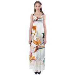 Exotic Birds Of Paradise And Flowers Watercolor Empire Waist Maxi Dress by TKKdesignsCo