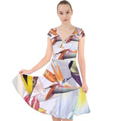 Exotic Birds Of Paradise And Flowers Watercolor Cap Sleeve Front Wrap Midi Dress by TKKdesignsCo