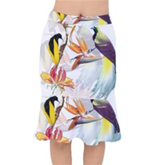 Exotic Birds Of Paradise And Flowers Watercolor Mermaid Skirt by TKKdesignsCo