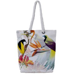 Exotic Birds Of Paradise And Flowers Watercolor Full Print Rope Handle Tote (small) by TKKdesignsCo
