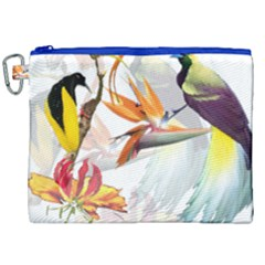 Exotic Birds Of Paradise And Flowers Watercolor Canvas Cosmetic Bag (xxl) by TKKdesignsCo