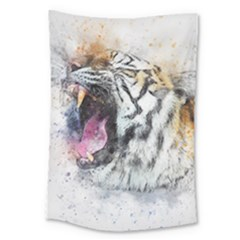 Tiger Roar Animal Art Abstract Large Tapestry