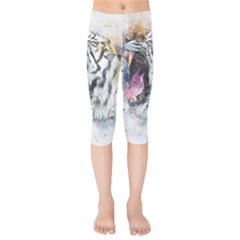 Tiger Roar Animal Art Abstract Kids  Capri Leggings