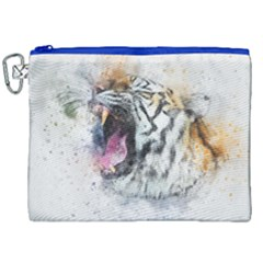 Tiger Roar Animal Art Abstract Canvas Cosmetic Bag (xxl) by Celenk