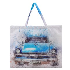 Car Old Car Art Abstract Zipper Large Tote Bag by Celenk