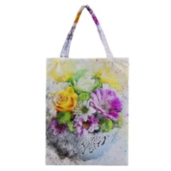 Flowers Vase Art Abstract Nature Classic Tote Bag by Celenk