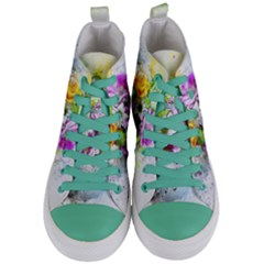 Flowers Vase Art Abstract Nature Women s Mid Top Canvas Sneakers