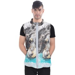 Dog Animal Art Abstract Watercolor Men s Puffer Vest by Celenk