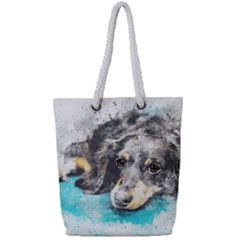 Dog Animal Art Abstract Watercolor Full Print Rope Handle Tote (small)