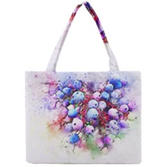 Berries Pink Blue Art Abstract Mini Tote Bag by Celenk