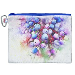 Berries Pink Blue Art Abstract Canvas Cosmetic Bag (xxl) by Celenk