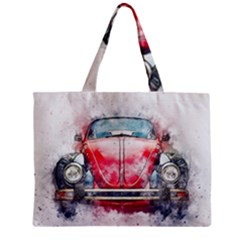 Red Car Old Car Art Abstract Zipper Mini Tote Bag by Celenk