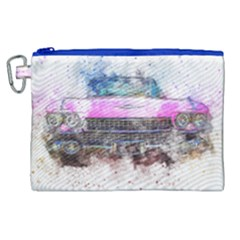 Pink Car Old Art Abstract Canvas Cosmetic Bag (xl) by Celenk
