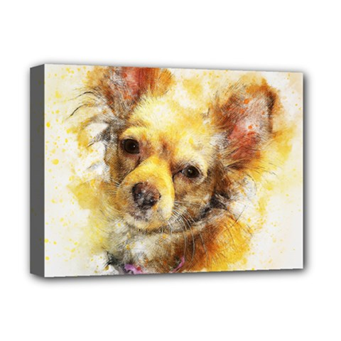 Dog Animal Art Abstract Watercolor Deluxe Canvas 16  X 12   by Celenk