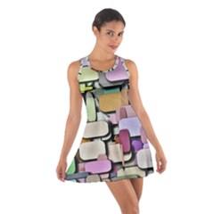 Background Painted Squares Art Cotton Racerback Dress