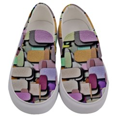Background Painted Squares Art Men s Canvas Slip Ons