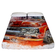 Car Old Car Art Abstract Fitted Sheet (california King Size) by Celenk