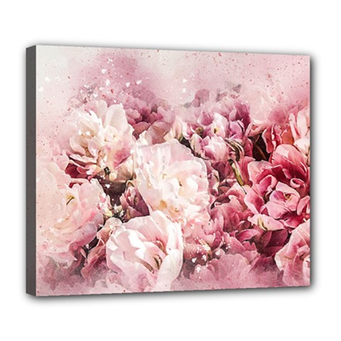 Flowers Bouquet Art Abstract Deluxe Canvas 24  X 20   by Celenk