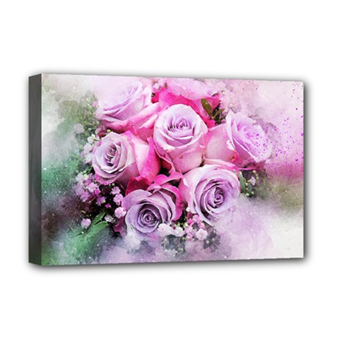 Flowers Roses Bouquet Art Abstract Deluxe Canvas 18  X 12   by Celenk
