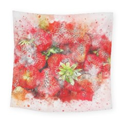 Strawberries Fruit Food Art Square Tapestry (large)