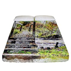 River Bridge Art Abstract Nature Fitted Sheet (king Size) by Celenk