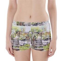 River Bridge Art Abstract Nature Boyleg Bikini Wrap Bottoms