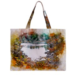 River Water Art Abstract Stones Zipper Mini Tote Bag by Celenk