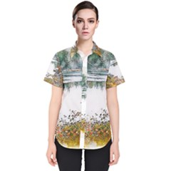 River Water Art Abstract Stones Women s Short Sleeve Shirt