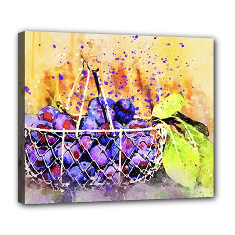 Fruit Plums Art Abstract Nature Deluxe Canvas 24  X 20   by Celenk