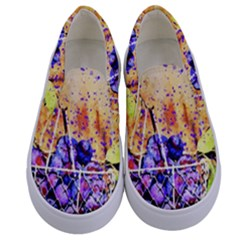 Fruit Plums Art Abstract Nature Kids  Canvas Slip Ons