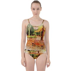 Tree Park Bench Art Abstract Cut Out Top Tankini Set