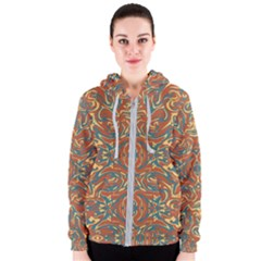 Multicolored Abstract Ornate Pattern Women s Zipper Hoodie