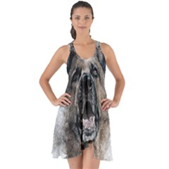 Dog Pet Art Abstract Vintage Show Some Back Chiffon Dress by Celenk