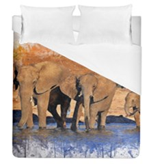 Elephants Animal Art Abstract Duvet Cover (queen Size) by Celenk