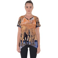Elephants Animal Art Abstract Cut Out Side Drop Tee by Celenk