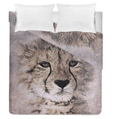 Leopard Art Abstract Vintage Baby Duvet Cover Double Side (queen Size) by Celenk