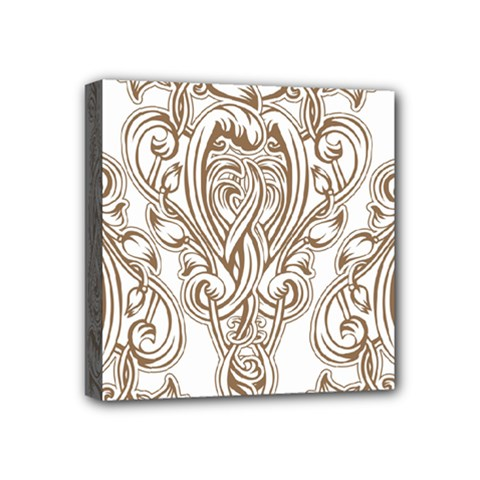 Beautiful Gold Floral Pattern Mini Canvas 4  X 4  by 8fugoso
